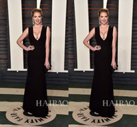 Wholesale New Fashion Mermaid Black Evening Gowns Deep V Neck Red Carpet Celebrity Dresses th Oscar Two Toned Long Prom After Party Dresses