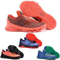 Wholesale 4 Colours With Box Kevin Durant KD VIII Bright Crimson V8 Sunrise Total Orange Men Kid s Basketball Sneaker Shoes