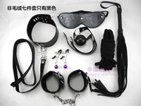 Wholesale 7Pcs Bondage Kit Set Fetish BDSM Roleplay Handcuffs Whip Rope Blindfold Ball Gag Sex in Restraint PU Leather Bedroom Restraint System
