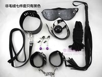 Wholesale Set Handcuff Ball Whip - 7Pcs Bondage Kit Set Fetish BDSM Roleplay Handcuffs Whip Rope Blindfold Ball Gag Sex 7-in-1 Restraint PU Leather Bedroom Restraint System