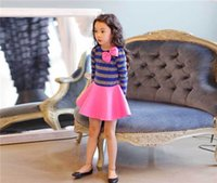 Wholesale 2015 spring Girls gentlewoman style cotton striped bow fashion princess children dress Pink and Blue color
