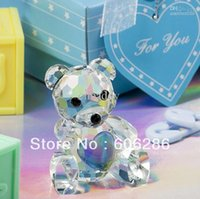 Wholesale Wedding supplies and Baby shower favors Souvenirs Crystal Collection Teddy Bear figurines for party return gifts