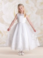 Wholesale Pageant White Flower Girl Dress For Wed Crew Lace Applique Tea Length Sleeveless Princess Ball Gowns First Communion Dress