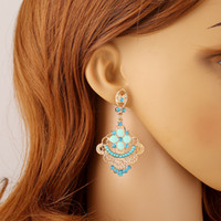 Cheap 2 Pairs A Lot Hoop Earrings For Girls 2015 European Style Long Earings With Flower Cheap Indian Jewelry Online Fashion Earring Designs 9705