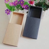 cardboard jewelry boxes - Kraft jewelry boxes Gift box Retail Black Kraft Paper Drawer Box Gift Craft Power Bank Packaging Cardboard Boxes