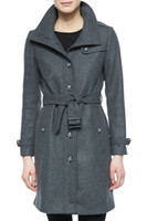 Wholesale Single Breasted Women Coat With Belt Turn Down Collar Trench