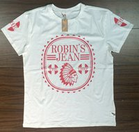 Wholesale New Men Robins jean cotton t shirt top shirts short sleeve white size M L XL XXL XXXL