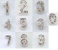 arabic numeral numbers - New Design Rhinestone Digit Arabic Numeral numbers Floating Locket Charms Accessories JJAL BE352