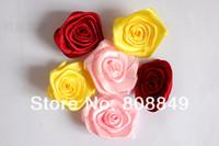 Cheap Cream Fabric Rosebuds No-Sew Fabric Rose DIY Handmade Satin Ribbon Rosette Fabric Flowers For Baby 100pcs Lot Free Shipping