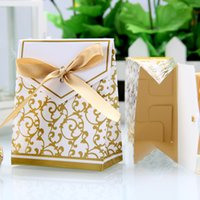 Cheap 100pcs Gold Wedding Favour Favor Cake Gift Candy Boxes Sacos Bags Anniversary birthday event & party supplies