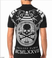 Wholesale 2016 high quality men s short sleeved T shirt lapel skull drilling hot hot POLO shirt short sleeved T shirt