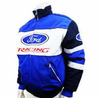 auto shop clothing - Fall Car team blue ford jacket MOTO GP motorcycle motorbike biker auto driver winter cotton jackets car shop work clothes