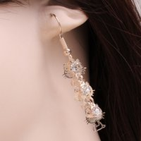Wholesale Factory C359 Japan style exquisite diamond earrings pierced earrings cute cat long jewelry Valentine s day Gifts