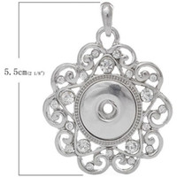 Wholesale Snap Jewelry Style Silver Filigree Pedant Necklace with Rhinestone snap charm Fits Ginger Snaps Jewelry