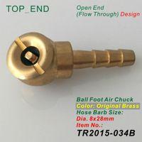 barb fittings - x28mm Hose Barb Ball Foot Air Chuck Open Flow Through Brass Stem Tire Tyre Inflator Gauge Fitting Tire Repair Tools