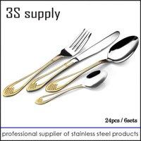 Wholesale Mirror polish novelty gold plated stainless steel flatware tableware set dinnerware dinner fork tea spoon cutlery set