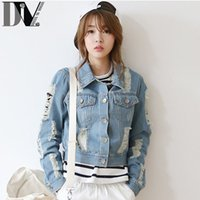 Cheap DIV Street Style Denim Jackets Women Ripped Hole Design Washed Short Brand Tops Fashion Navy Blue Turn-down Collar Pockets Coats