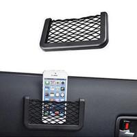 Wholesale 1Pc New Black Car Net Organizer Pockets Car Storage Net X8cm Automotive Bag Box Adhesive Visor Car Bag For Tools Mobile Phone