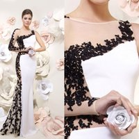 black and white evening dresses - White and Black Long Evening Dresses Mermaid Long Illusion Dresses See Through Appliques Sweep Train Appliques Formal Prom Gowns