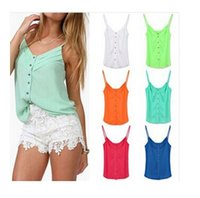 Cheap Free Shipping New Spring Women Blouse Candy Color Lady Shirts Sexy Chiffon Blouse Spagetti Strap Vest Tops XXL