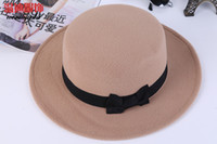 Wholesale Womens Stingy Brim Hats Ladies Vintage Wool Hats Trilby Bowler Fedora Bowknot Warm Hat Stingy Brim Caps Jazz Hats