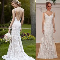 Wholesale Newest Wedding Dresses Sheer with Lace Sheath Spaghetti Straps V Neck Backless Bridal Gown Dress