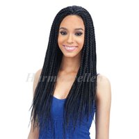 afro lace front wigs - Fashion New Braided wig Senegalese SINGLE Twist Lace Front Wig Braid Synthetic Braided Lace Wig Twist Afro Braid inch