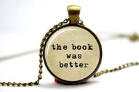better books - 10PCS The Book Was Better Typewriter Old Paper Necklace