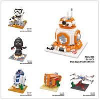 Wholesale 6 Desighs Kids Star Wars Toys Star Wars Toys Diamond Blocks Action Figure Miniature Model Plastic Brick DIY Toys Gifts LA188