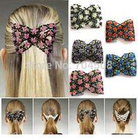 magic rose - FD683 Magic Stretch Rose Flower Bow Glass Bead Hair Head Comb Cuff Double Clips