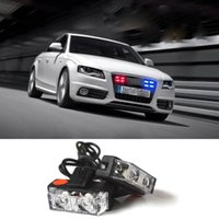 Wholesale New Car Styling Wire Control x2 Red Blue Set LED Strobe Warning Flash Dash Gill Light High Power Universal