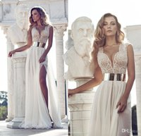 A-Line vestido de novia - 2015 Julie Vino Beading Wedding Dresses Vestido De Novia Ivory V Neck A Line Gold Belt Capped Sleeves Side Slit Chiffon Bridal Gowns