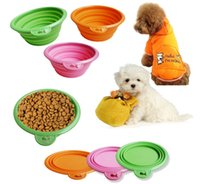 Wholesale Portable Pet dog cat Bowl Puppy Drinking Collapsible Easy Take Outside colors Feeding Water Feeder Travel Bowl Dish DHL