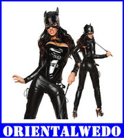 adult catwoman costumes - Adult Costume Black Catwoman Five Piece Sexy Hot Cat Faux Leather Costume new for women leather Teddies bodysuit