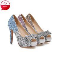basic sandals - Plus Size34 Women Basic Pumps Summer high Heels sandals Peep toe gold silver Glitter Wedding Shoes PS272