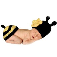 bee costume accessories - Kawaii Yellow flower bee baby clothing months Newborn photography props hats for girls crochet costume accessories HK657