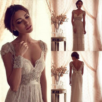 Wholesale Cheap Sexy Lace Ball Gowns - 2016 Sexy Anna Campbell Backless Wedding Ball Gowns Cheap Beach Wedding Dresses Beads Capped Sleeves Vintage Wedding Dresses Lace
