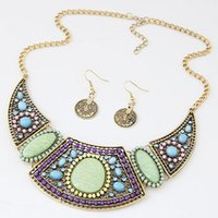 Cheap African Costume Jewelry Set For Women Ethnic Resin Vintage Beads Necklace Earrings Jewelry Sets High Quality Coins Earrings Set