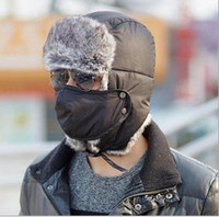 Wholesale Snow Winter Warm Cotton padded Trapper Hat with Mask Cycling Mountaineering For Women Men Solid Warmth Ear Protection Cap K5570