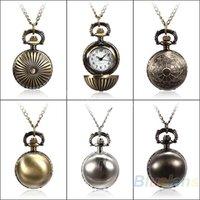 Wholesale Min Colors Antique Retro Vine Ball Metal Steampunk Quartz Necklace Pendant Chain Small Pocket Watch For Gift CU NV