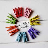 Wholesale 100 Colorful Mini Wood Clip Wooden Pegs Kids Crafts Party Favor Supply mm