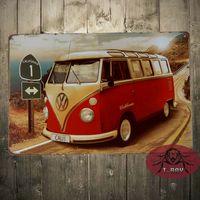 antique bus - California Line Volkswagen Bus Vintage Tin Signs Pub Wall Poster Decor