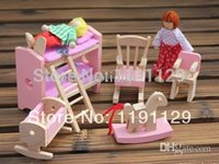 Wholesale doll house Simulation room furniture wooden toys bed room furniture toys for children learning and educational role play toys