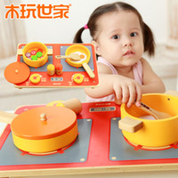 Wholesale Montessori game Early childhood educational wooden toy Play house emulational Kitchen set Enlightenment toys Fast Shipping