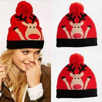 Wholesale Christmas Deer Head Hats Lovely Knit Red Girls Children Festival Wears Fur Ball S M L