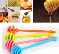 Wholesale Honey Dipper Silicone Hand Stirring Bar Home Kitchen Assistant Home Use Coffee Tea Juice Tools With Retail Box