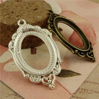 Wholesale mm oval cabochon antique bronze silver plated vintage style metal zinc alloy pendant blank tray settings hm814