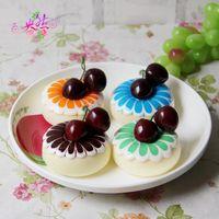Wholesale 24pcs squishy cake cm Fridge Magnets Simulation Pudding Fruit squishies cherry fruit mix color order