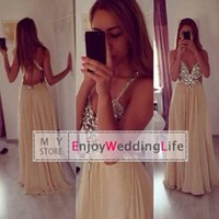 flowing prom gowns - Flow chiffon A line champagne prom dreses sparkly sequins beaded floor length spaghetti straps backless crystals evening gowns