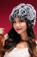 rabbit fur hat - 2014 New Genuine Rabbit Fur Hat Knitted Rabbit Fur Cap Real Rabbit Fur Headwear Fur Flower Headgear Winter womens Hat